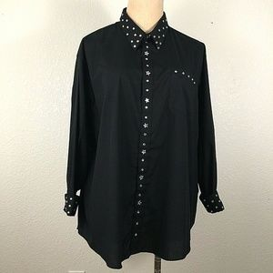 Black Button Front Shirt Top Plus Size Jeweled